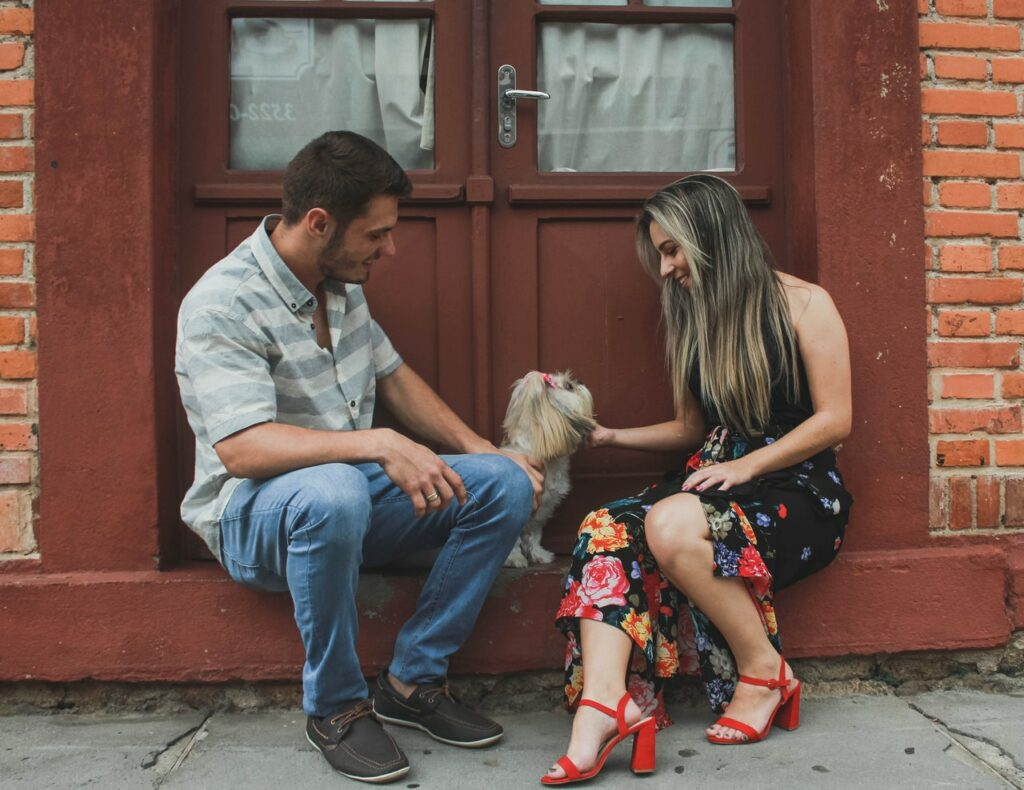 dating man woman and a dog