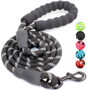 5 FT Strong Dog Leash with Comfortable Padded Handle and Highly Reflective Threads for Small Medium and Large Dogs
