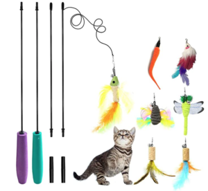 Cat feather toy wand