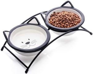 Ceramic Cat Food Bowls Set
