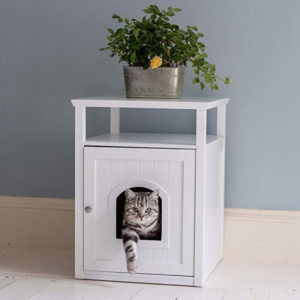 Lords and Labradors White Wooden Cat Washroom