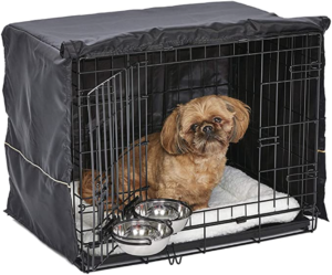 MidWest iCrate Starter Kit - dog crate, crate cover, bowls and pet bed