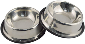 Stainless Steel Dog Bowl with Rubber Base