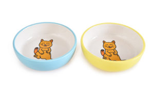 ceramic cat food bowl set