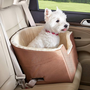 Car dog booster seat with a harness