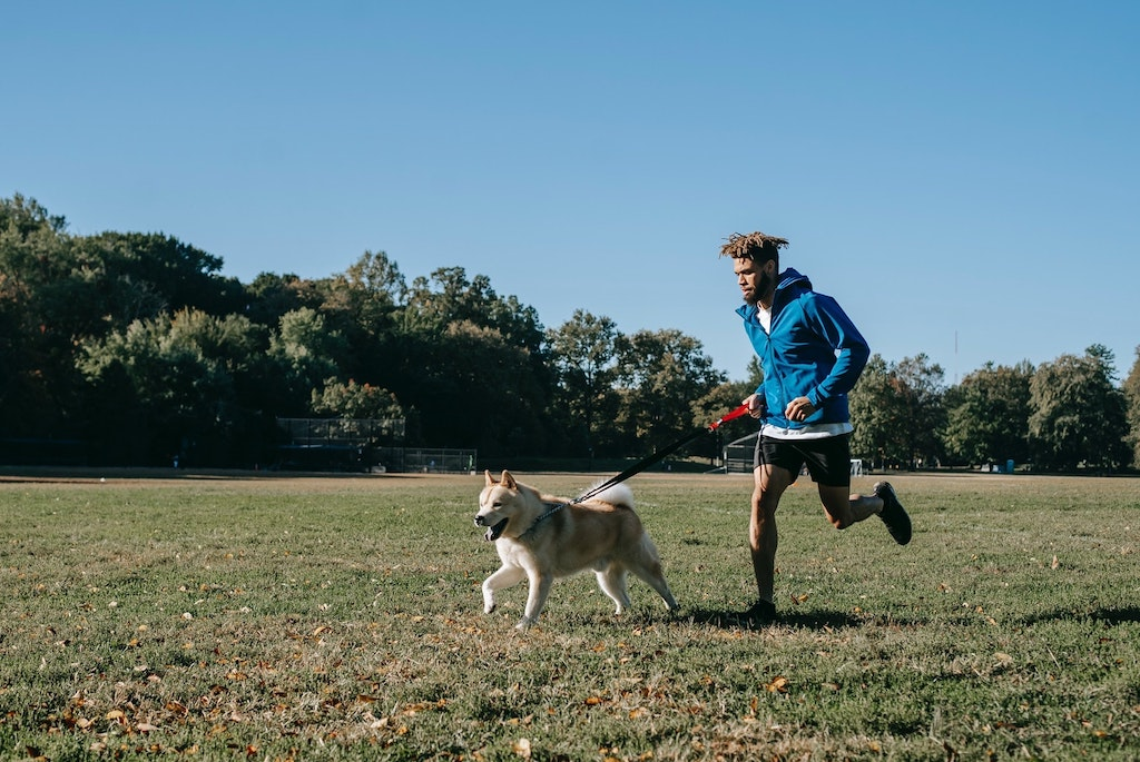 man running with a dog