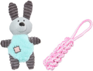 mishi puppy toys - bunny stuffed toy and rope toy for dog